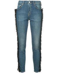 Tu Es Mon Tresor - Gathered Ribbon Trim Jeans Short Length - Lyst