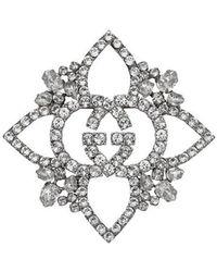 Gucci - Брошь В Виде Цветка С Переплетающимися GG С Кристаллами - Lyst