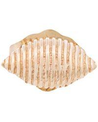 Alison Lou - 14kt Yellow Gold Shell Stud Earring - Lyst