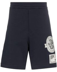 Alexander McQueen - Skull Patch Cotton Track Shorts - Lyst
