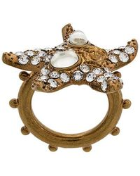 Versace - Embellished Starfish Ring - Lyst