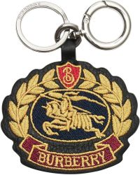 Burberry - Embroidered Archive Logo Leather Key Charm - Lyst