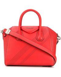60d39c4515 Givenchy Mini Antigona Shiny Leather Bag in Red - Lyst