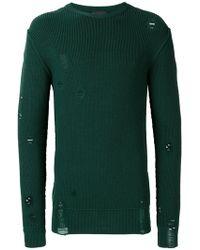 Diesel Black Gold - Distressed Longsleeved Sweater - Lyst