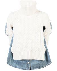 Sacai - Knit Jumper Layer Over Denim Shirt - Lyst