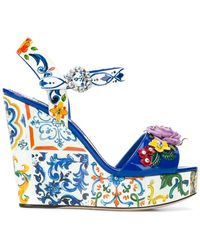 Dolce & Gabbana - Floral Wedged Sandals - Lyst