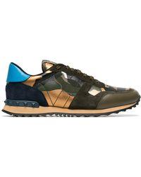 03c45b21c5f4 Valentino - Khaki Rockstud Camouflage Sneakers - Lyst