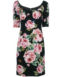 Dolce & Gabbana - Fitted Rose Dress - Lyst