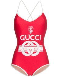Gucci - Interlocking Logo Print Swimsuit - Lyst