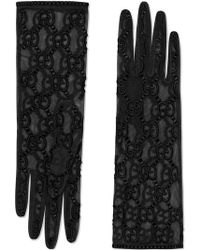 Gucci Leather Gloves With Double G Stripe Print in Black - Save 10.0 ... 238ae63aa7f