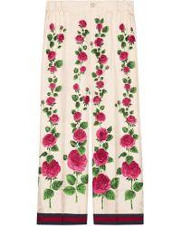 Gucci - Rose Garden Print Silk Pyjama Trousers - Lyst