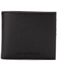 Emporio Armani - Portafoglio bi-fold con logo goffrato - Lyst
