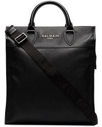 Balmain - Black Oversized Leather Tote - Lyst