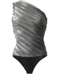 Mugler - One Shoulder Metallic Pleated Bodysuit - Lyst