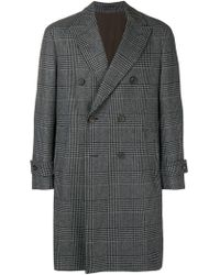 Dell'Oglio - Double-breasted Houndstooth Coat - Lyst
