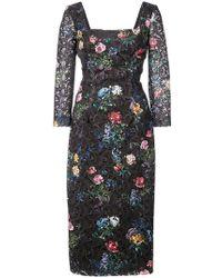 Monique Lhuillier - Floral Embroidered Square Neck Dress - Lyst