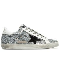 Golden Goose Deluxe Brand - Silver Superstar Glitter Embellished Leather Lop Top Sneakers - Lyst