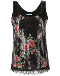 Blumarine - Floral Sequin Embellished Top - Lyst
