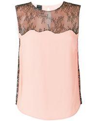 Pinko - Lace Insert Sleeveless Top - Lyst