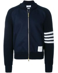 Thom Browne - Chunky Saddle Sleeve Cashmere Wool Bomber - Lyst