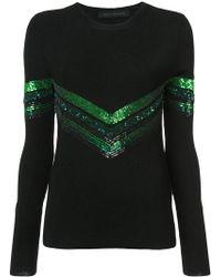 Sally Lapointe - Sequin Chevron Detail Sweater - Lyst