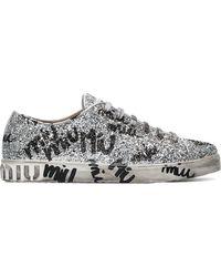 680102fd8ca Miu Miu - Silver Logo Graffiti Glitter Leather Sneakers - Lyst
