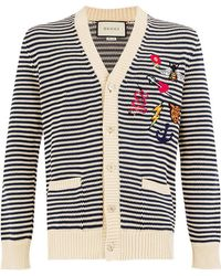 Gucci - Embroidered Details Striped Cardigan - Lyst