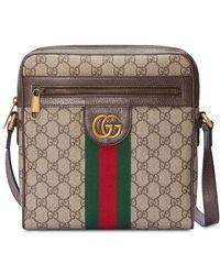 9e31f85e6bb Lyst - Gucci Bright Diamante Leather Messenger Bag in Gray for Men