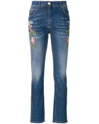 Etro - Embroidered Flower Jeans - Lyst