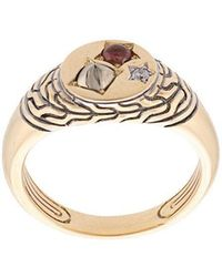 John Hardy - Adwoa Aboah 18kt Yellow Gold And Mixed Stone Classic Chain Signet Pinky Ring - Lyst