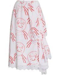Simone Rocha Face Print Ruched Cotton Skirt