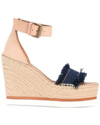 See By Chloé - Frayed Wedged Sandals - Lyst