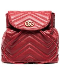 a3e71e498599 Gucci - Red Marmont Quilted Leather Backpack - Lyst