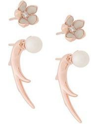 Shaun Leane - Cherry Blossom Pearl And Diamond Flower Talon Earrings - Lyst