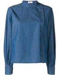 Closed Button Up Blue Top