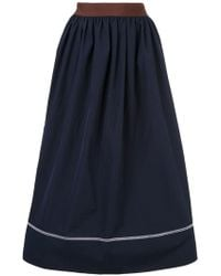 fc0bc72ad5 Valentino Black And White Piping Skirt in Black - Lyst