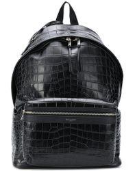 Saint Laurent - Black Croc City Backpack - Lyst