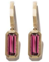 David Yurman - 18kt Yellow Gold Novella Hoop Drop Pink Tourmaline Earrings - Lyst