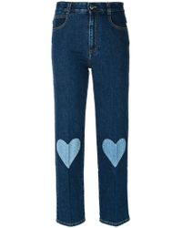 Stella McCartney - Cropped Heart-embroidered Jeans - Lyst