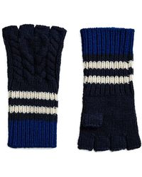 Burberry - Cashmere Striped Cable Knit Fingerless Gloves - Lyst
