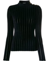 Balmain - Velvet Striped Turtleneck Top - Lyst
