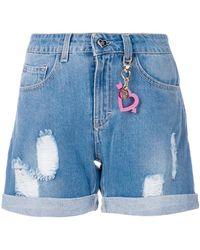 Twin Set - Distressed Denim Shorts - Lyst