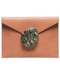 Nathalie Trad - Coral Rene Leather Shell Clasp Clutch - Lyst