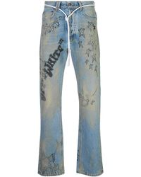 Off-White c/o Virgil Abloh Diagonal Wizard Relaxed Fit Jeans - Blue