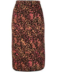 M Missoni - Leopard Print Pencil Skirt - Lyst