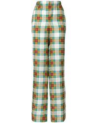 Alberta Ferretti - Plaid High-waist Trousers - Lyst