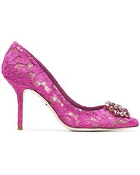 Dolce & Gabbana - Pink Belucci 90 Lace Court Shoes With Crystals - Lyst