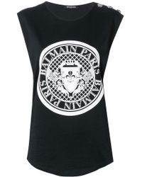 580b511e2b Balmain Logo Print Tank Top in Black - Lyst
