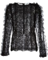 Givenchy - Ruffled Lace Long Sleeve Top - Lyst