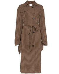 Nanushka - Noir Gingham Wool Blend Trench Coat - Lyst